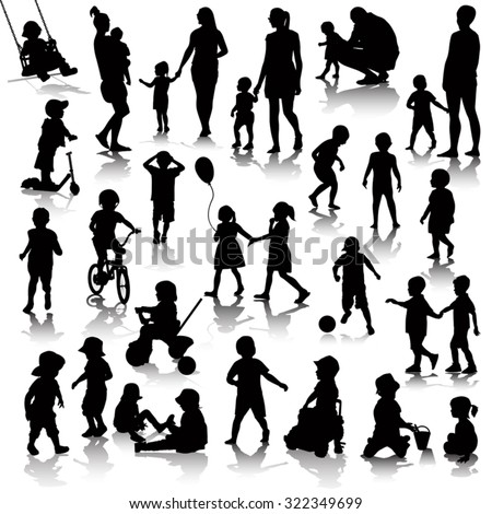 Children silhouettes isolated on white. Vector illustration