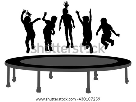Children silhouettes jumping on garden trampoline vector illustration. Happy girls and boys jumping on trampoline. - stock vector