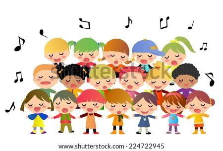 Children singing - stock vector