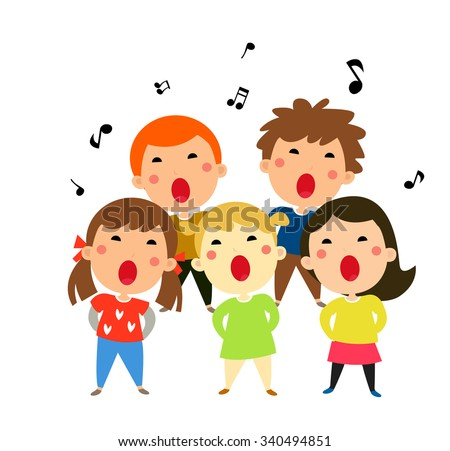 Children singing Christmas carols, vector illustration - stock vector