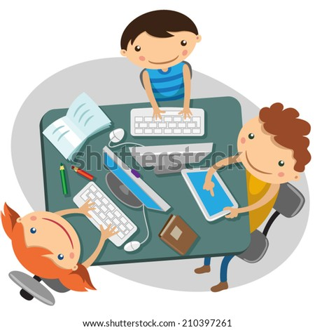 children sit at the table and learn lessons - stock vector