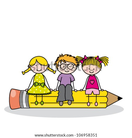 children sitting on a pencil. Funny vector, isolated on white background - stock vector