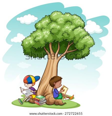 Children sitting under a tree - stock vector
