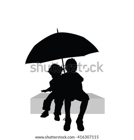 children sitting under umbrella illustration silhouette part two - stock vector