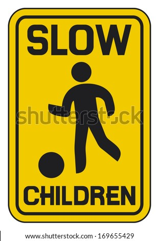 children slow traffic sign    - stock vector