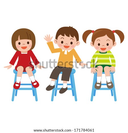 Children smile is sitting in a chair - stock vector