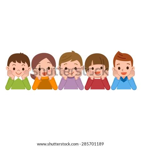 Children smile lie down - stock vector