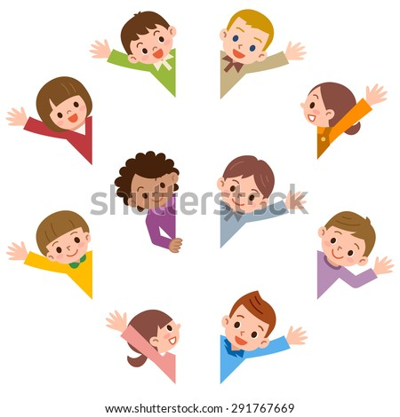 Children smile waving - stock vector