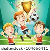 Children Soccer champion with winners trophy sporting. cartoon character. - stock vector