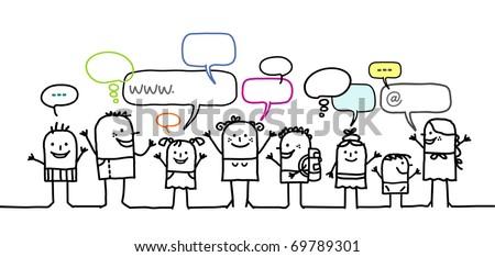 children & social network - stock vector