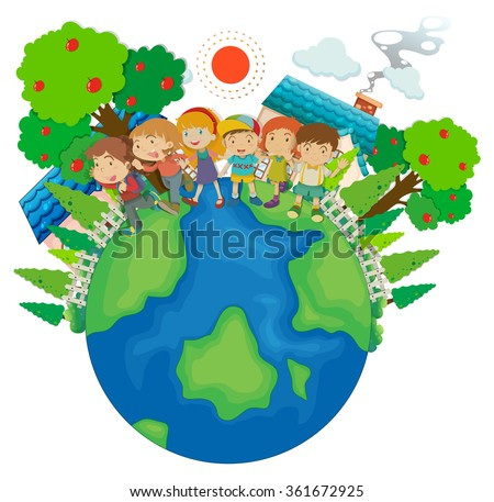 Children standing around the world illustration - stock vector