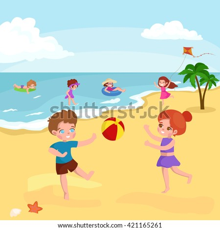 Children summer vacation in park.Kids Playing sand around water on beach,swimming in sea or ocean vector illustration.Happy kids summer holiday,people sunning and swimming, play ball,have fun vocation