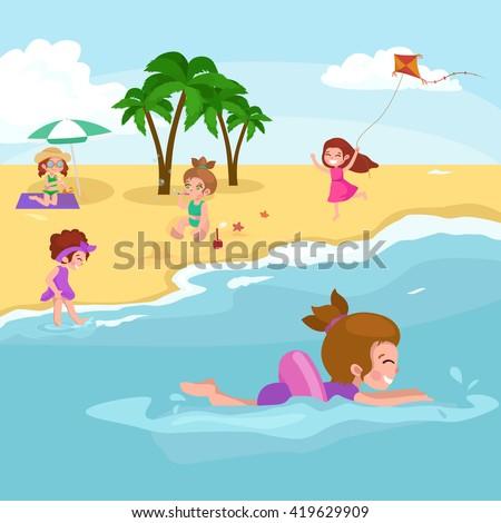 Kids swimming at the beach