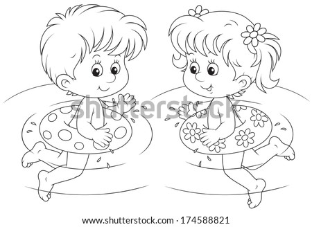 Children swim with inflatable circles - stock vector