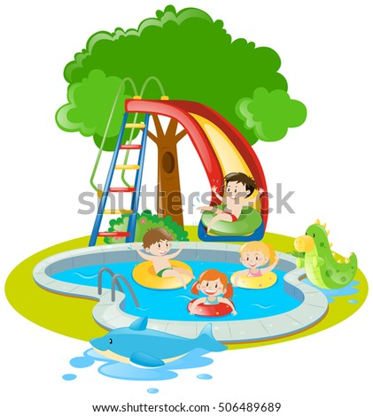 Children swimming and playing slide in pool illustration