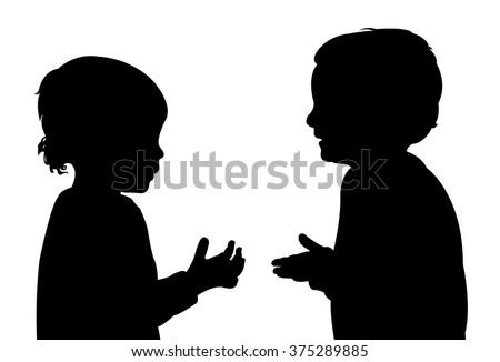 children talking, silhouette vector - stock vector