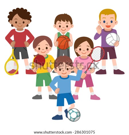 Children to a variety of sports - stock vector
