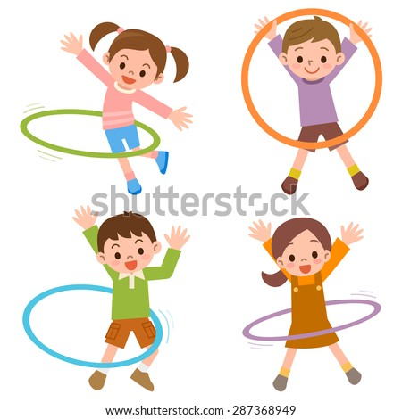 Children to the hula hoop - stock vector