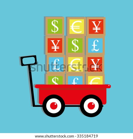 Children traditional toy pulling wagon loaded with play building blocks on which are the symbols of traded currencies for the Dollar, Pound, Euro, Yuan and Yen - stock vector