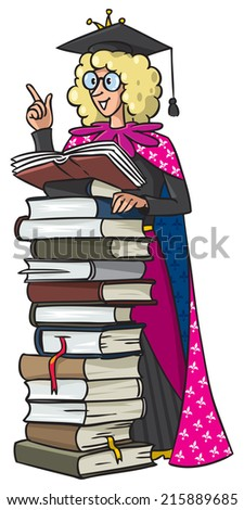 Children vector illustration of female scientist in gown and cap with blonde curly hair gives a speech in the pulpit, made from books - stock vector