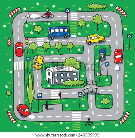 Children vector illustration of labyrinth of roads, grass areas, building and cars - stock vector