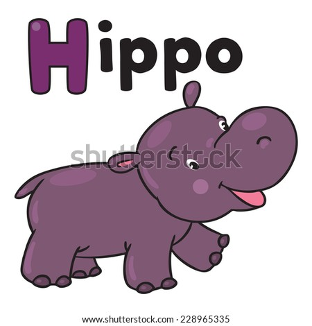 Children vector illustration of little funny hippo or hippopotamus. Alphabet H