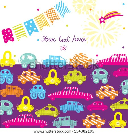 Children vector postcard with cars