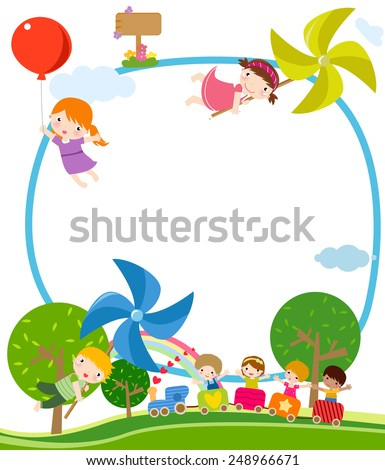 Children, windmill, and train