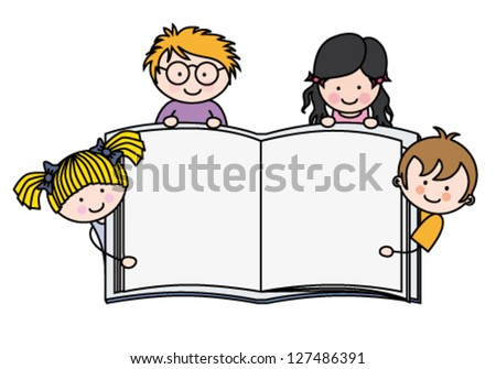 Children with a book with blank pages to write or photo - stock vector