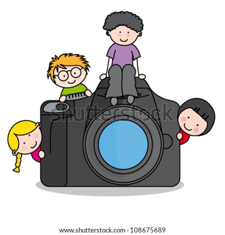 children with a camera. Funny vector, isolated on white background - stock vector
