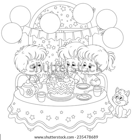 Children with a Christmas cake - stock vector