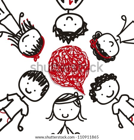 children with balloon text over white background. vector - stock vector