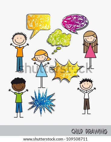 children with balloons text drawing. vector illustration - stock vector
