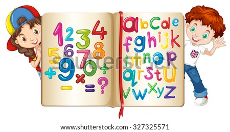 Children with book of numbers and alphabets illustration - stock vector