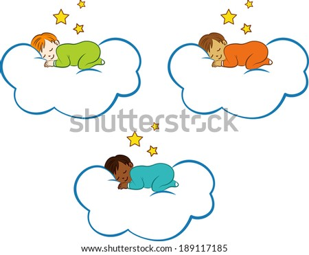 Children with different complexions sleeping on a cloud.EPS10 - stock vector