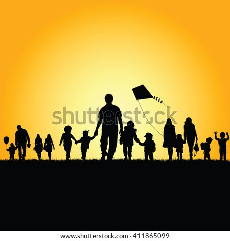 children with family silhouette illustration in nature - stock vector