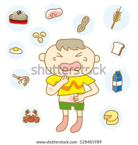 Children with food allergies - stock vector