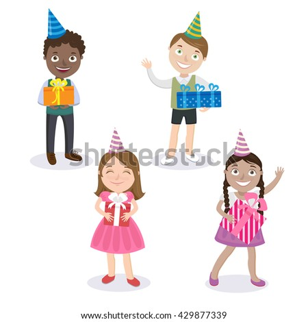 Children with Gift Boxes. Happy Children. Boy with Present. Girl with Present. Vector illustration - stock vector
