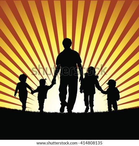 children with grandfather silhouette illustration in nature colorful - stock vector