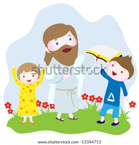 Children with Jesus holding a Bible. Vector drawing.