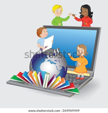 children with laptop - vector illustration - stock vector