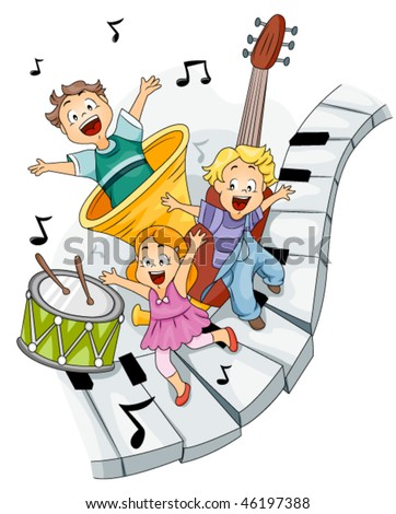 Children with Musical Instruments - Vector - stock vector