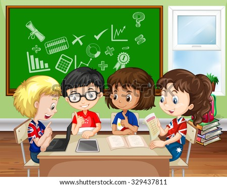 Children working in group in the classroom illustration - stock vector