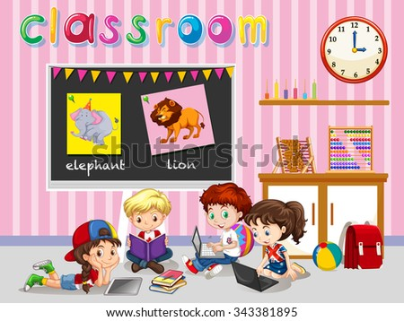 Children working in the classroom illustration - stock vector