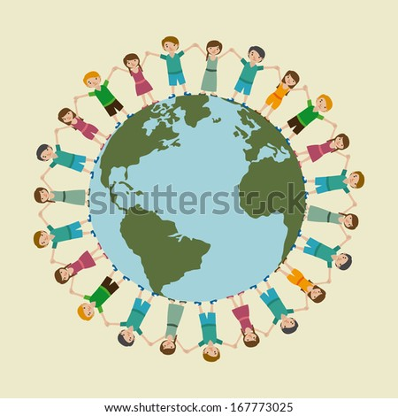 children world over beige background  vector illustration - stock vector