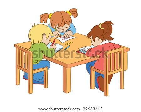 Children write and read, sitting at the table. - stock vector