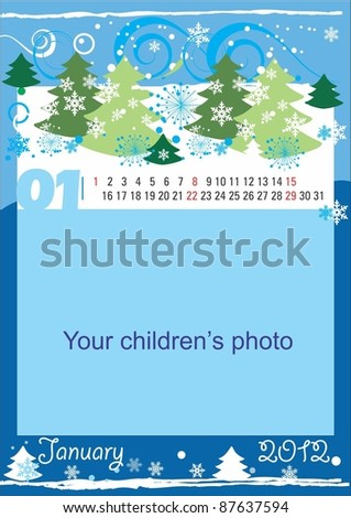 Childrens calendar for the month of January