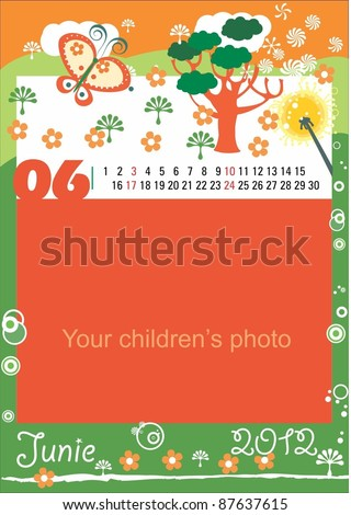 Childrens calendar for the month of Junie