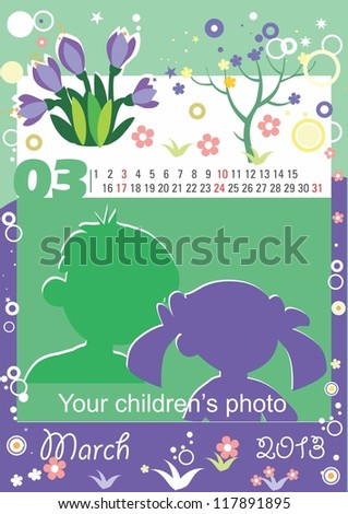 Childrens calendar for the month of March