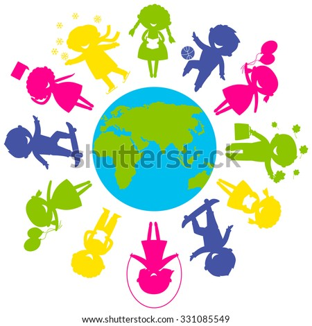 Childrens Day concept. Cute children silhouettes around the World. Earth Planet with colored children silhouettes. - stock vector